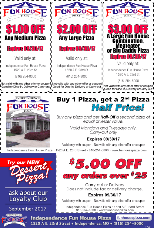 Fun house pizza independence mo coupons